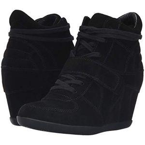 Ash Bowie black suede high top wedge sneakers